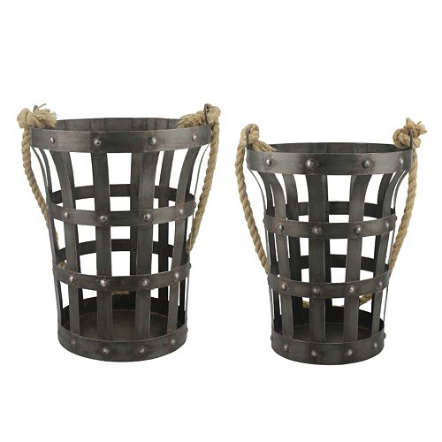Stonebriar Collection 2-piece Riveted Rustic Basket Set