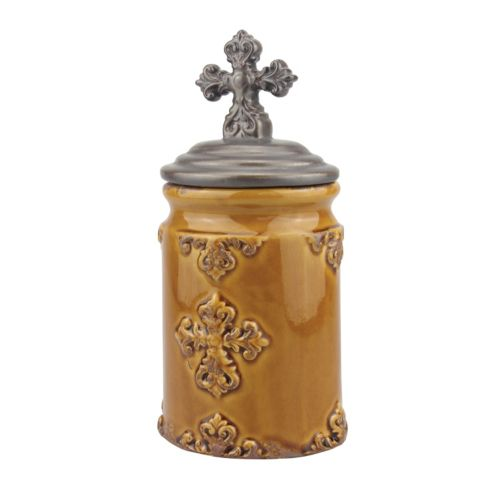 Stonebriar Collection Small Cross Canister
