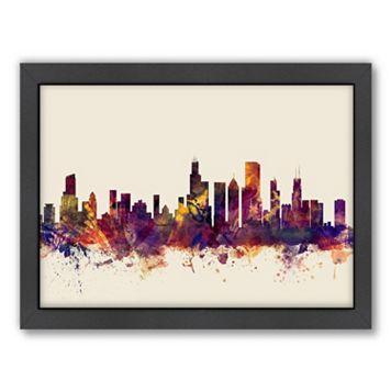 Americanflat Michael Tompsett ''Chicago, Illinois Skyline II'' Framed Wall Art