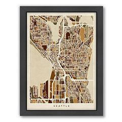 Americanflat Michael Tompsett ''Seattle Street Map II'' Framed Wall Art