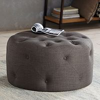 Madison Park Donna Round Tufted Ottoman