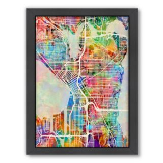 Americanflat Michael Tompsett ''Seattle Street Map'' Framed Wall Art