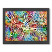 Americanflat Michael Tompsett ''Pittsburgh Street Map IV'' Framed Wall Art