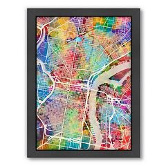 Americanflat Michael Tompsett ''Philadelphia Street Map IV'' Framed Wall Art