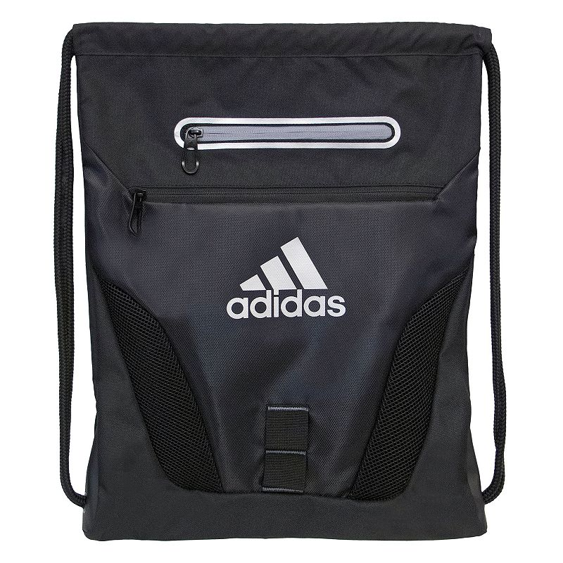 Adidas Rumble Drawstring Backpack, Black Compact and sporty, this Adidas Rumble sackpack is perfect for any trip. Tricot-lined media pocket is perfect for electronics. Exterior zipper pockets offer added storage. Main compartment is ventilated with air mesh to keep gear dry. Drawstring shoulder straps adjust and close with ease. 600-denier polyester Manufacturer's lifetime limited warrantyFor warranty information please click here Wipe clean In-use: 19''H x 15''W x 2''D Weight: 0.5 lbs. Exterior: 2 front zip pockets Interior: 1 main compartment Zipper & drawstring closures Model numbers: Black silver: 5137725 Heather gray blue: 5137709 Bold blue yellow: 5137694 Red print: 5137741 Size: Onesize. Gender: Unisex. Age Group: Adult. Material: 600 Polyester.