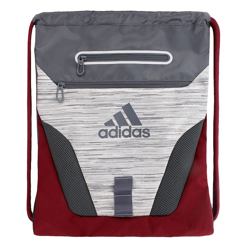 Adidas Rumble Drawstring Backpack, White Compact and sporty, this Adidas Rumble sackpack is perfect for any trip. Tricot-lined media pocket is perfect for electronics. Exterior zipper pockets offer added storage. Main compartment is ventilated with air mesh to keep gear dry. Drawstring shoulder straps adjust and close with ease. 600-denier polyester Manufacturer's lifetime limited warrantyFor warranty information please click here Wipe clean In-use: 19''H x 15''W x 2''D Weight: 0.5 lbs. Exterior: 2 front zip pockets Interior: 1 main compartment Zipper & drawstring closures Model numbers: Black silver: 5137725 Heather gray blue: 5137709 Bold blue yellow: 5137694 Red print: 5137741 Size: Onesize. Color: White. Gender: Unisex.