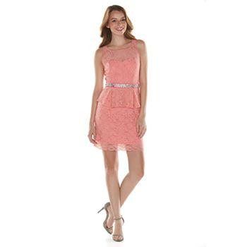 2c02d7a53ee66e Juniors' Lily Rose Lace Peplum Dress