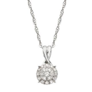 1/10 Carat T.W. Diamond 10k White Gold Halo Pendant Necklace