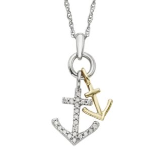 1/10 Carat T.W. Diamond 10k Gold Two Tone Anchor Pendant Necklace