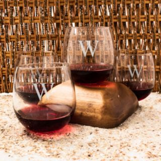 Cathy's Concepts Monogram 4-pc. Stemless Red Wine Glass Set