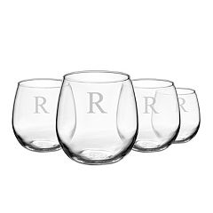 Cathy's Concepts Monogram 4 pc Stemless Red Wine Glass Set