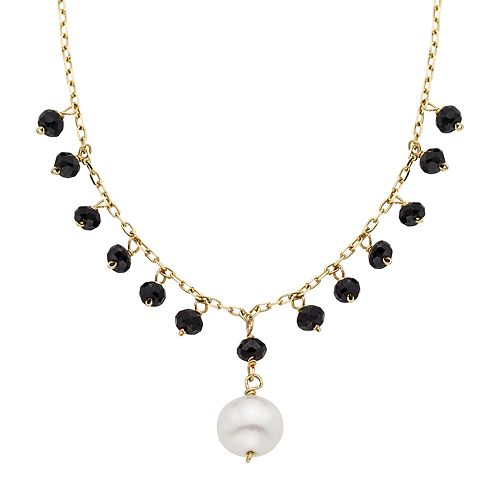 Freshwater Cultured Pearl & Black Spinel 14k Gold Y Necklace