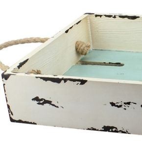 Stonebriar Collection Distressed Slotted Wood Tray
