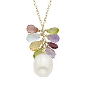 Freshwater Cultured Pearl & Gemstone 14k Gold Cluster Pendant Necklace