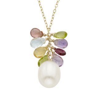 Freshwater Cultured Pearl & Gemstone 14k Gold Cluster Pendant Necklace