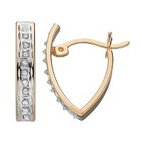 Diamond Mystique 18k Gold Over Silver V Hoop Earrings
