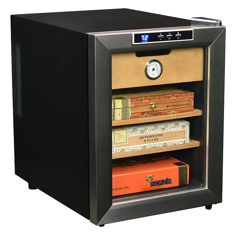 NewAir 250-Count Cigar Cooler Save and store your favorite cigars with this NewAir cigar humidor. Durable, airtight and consistent storage space for your cigars Supports the gradual cigar aging process and promotes robust, hearty flavors Prevents mold, repels damaging insects and tobacco worms Drawer with hygrometer tracks the moisture in the air around your cigar collection 2 cedar shelves and a cedar drawer Stainless steel Wipe clean Manufacturer's 1-year limited warrantyFor warranty information please click here 14 H x 19.5 W x 19 D 0.8 amps Stores 250 cigars  Size: One Size. Color: Multicolor. Gender: unisex. Age Group: adult.