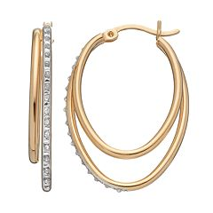Diamond Mystique 18k Gold Over Silver Oval Hoop Earrings