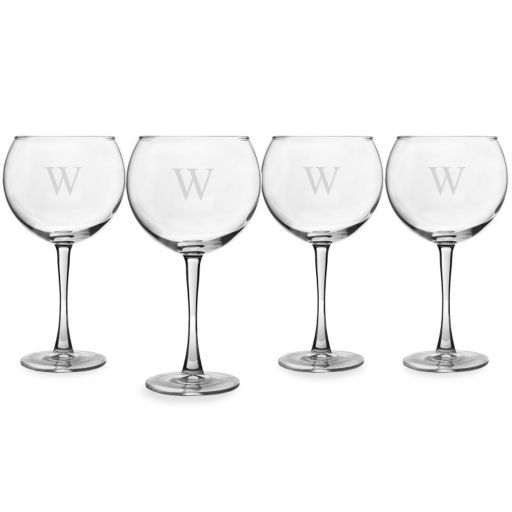 Cathy's Concepts Monogram 4-pc. Red Wine Glass Set