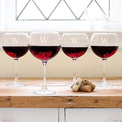 Cathy's Concepts Monogram 4 pc Red Wine Glass Set