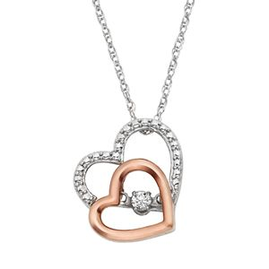 Dancing Love Diamond Accent Sterling Silver Two Tone Double Heart Pendant Necklace