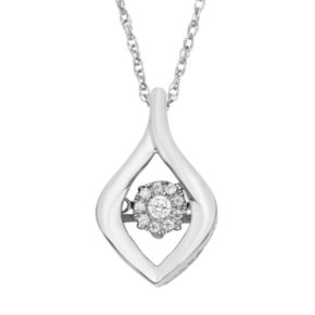 Dancing Love Diamond Accent Sterling Silver Marquise Pendant Necklace