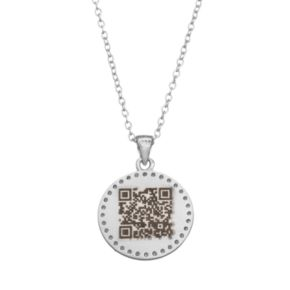 "qnotes Cubic Zirconia Sterling Silver ""Love"" Disc Pendant Necklace"