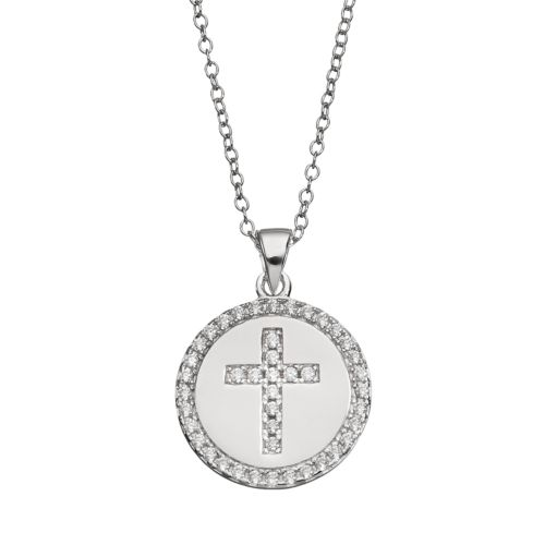 qnotes Cubic Zirconia Sterling Silver Cross Disc Pendant Necklace