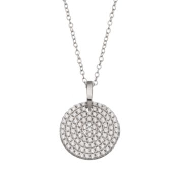qnotes Cubic Zirconia Sterling Silver Disc Pendant Necklace