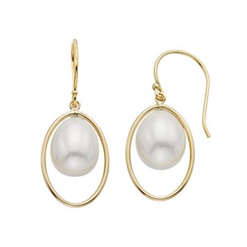 Freshwater Cultured Pearl 14k Gold Drop Earrings