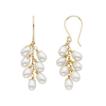 Freshwater Cultured Pearl 14k Gold Cluster Drop Earrings