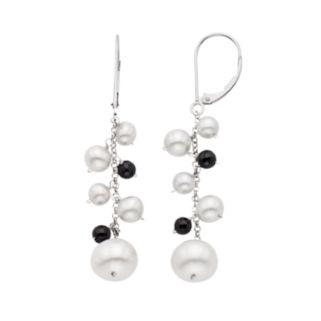 Freshwater Cultured Pearl & Black Spinel 14k White Gold Linear Drop Earrings
