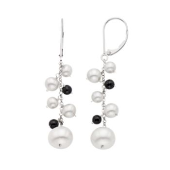 Freshwater Cultured Pearl & Black Spinel 14k White Gold Linear Drop Earrings