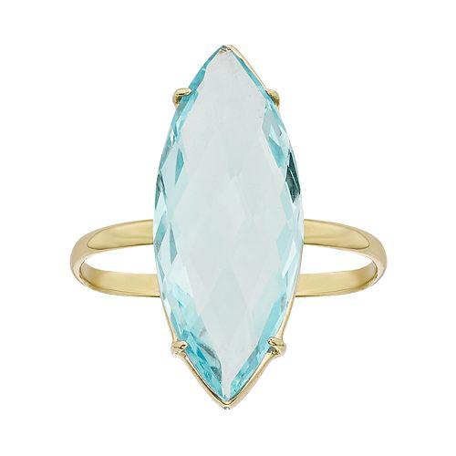 Sky Blue Topaz 14k Gold Marquise Ring