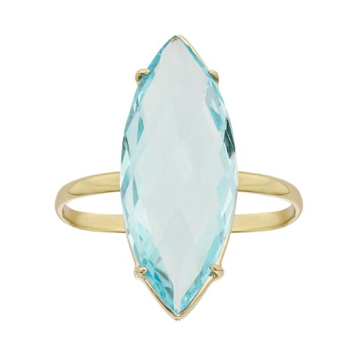 Sky Blue Topaz 14k Gold Marquise Ring