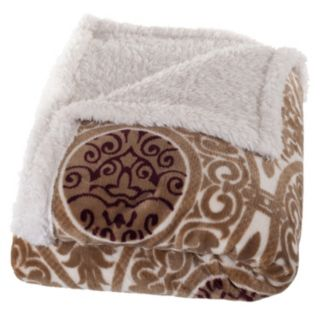 Portsmouth Home Medallion Coral Fleece and Sherpa Throw