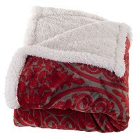 Portsmouth Home Medallion Coral Fleece & Sherpa Throw
