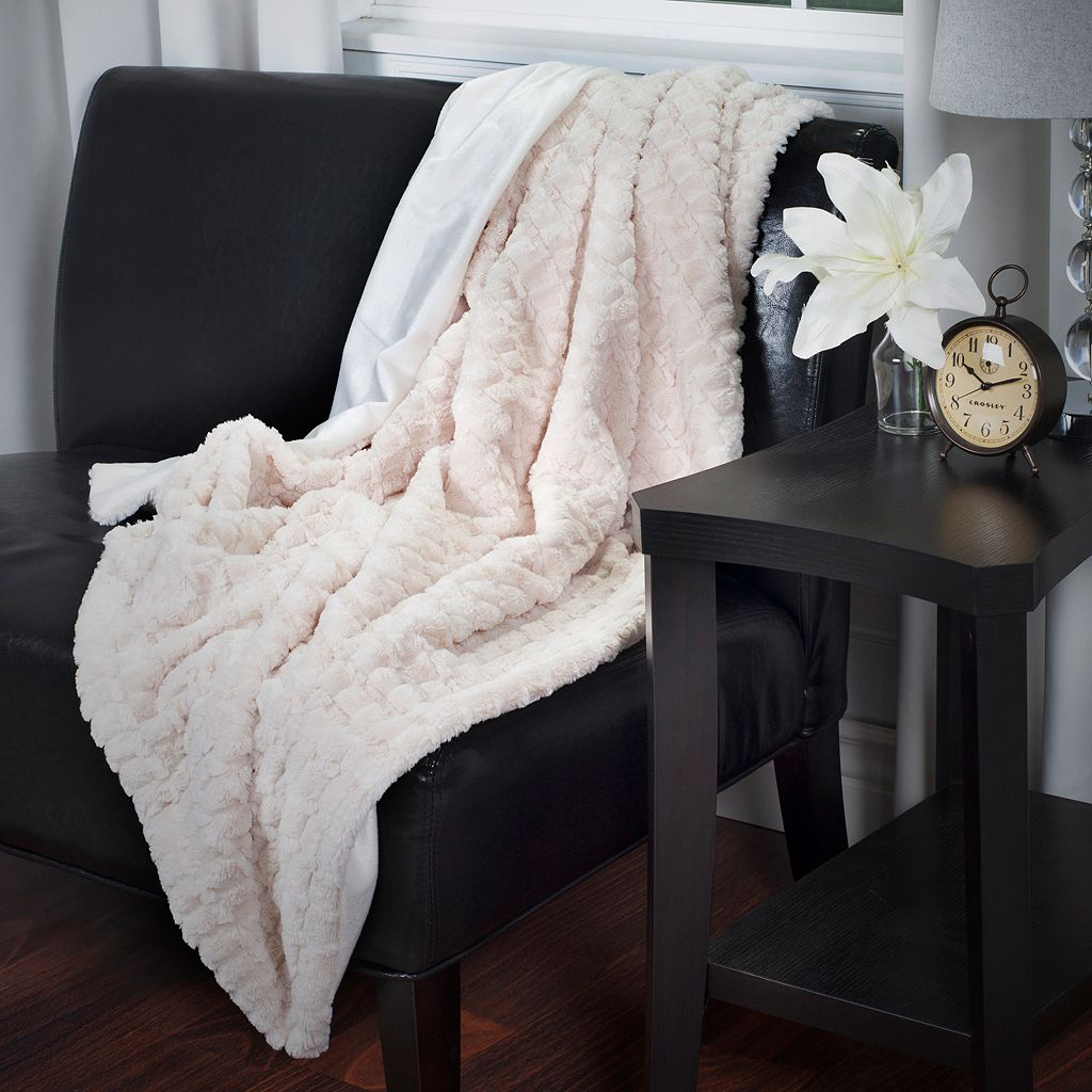Portsmouth Home Plush Embossed Striped Faux-Mink Throw