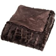 Portsmouth Home Plush Embossed Crocodile Faux -Mink Throw