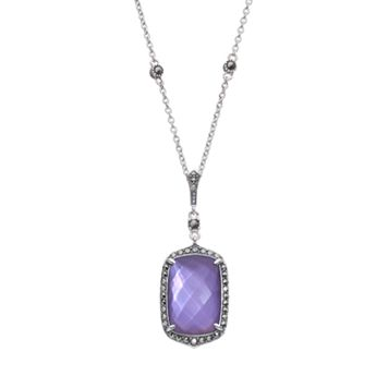 Lavish by TJM Purple Mother-of-Pearl Triplet Sterling Silver Halo Pendant Necklace - Made with Swarovski Marcasite