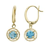 Blue Topaz 14k Gold Drop Earrings