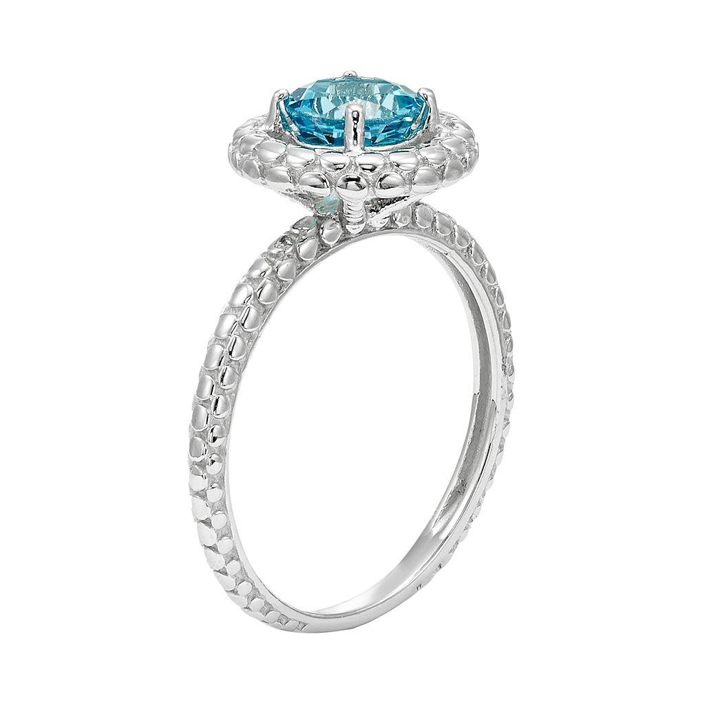 Swiss Blue Topaz 14k White Gold Halo Ring