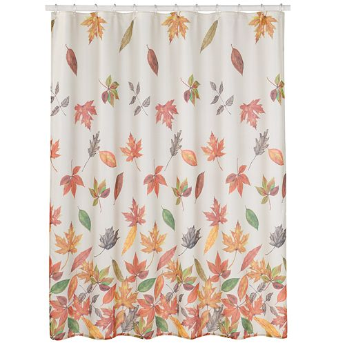 Harvest Cascading Leaves Fabric Shower Curtain