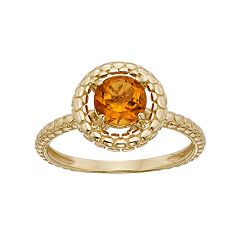 Citrine 14k Gold Halo Ring by