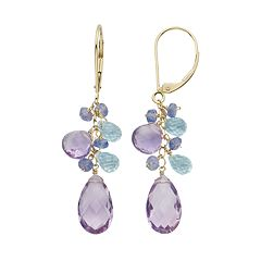 Gemstone 14k Gold Cluster Drop Earrings