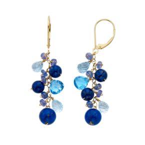 Gemstone 14k Gold Cluster Drop Earrings