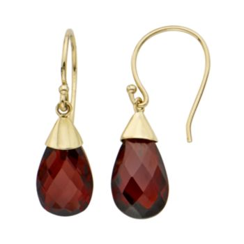 Garnet 14k Gold Teardrop Earrings