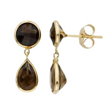 Smoky Quartz 14k Gold Drop Earrings