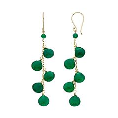 Green Onyx 14k Gold Drop Earrings