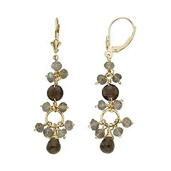 Smoky Quartz & Labradorite 14k Gold Drop Earrings